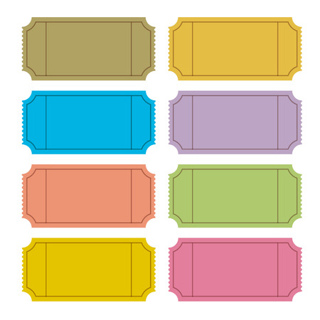 old movies: Colorful Vector Ticket Set Illustration