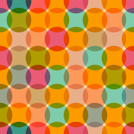 Seamless Retro Circles Colorful Background  Vector