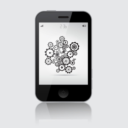 wheal: Smartphone Vector Illustration with Cogs - Wheels on Grey Background