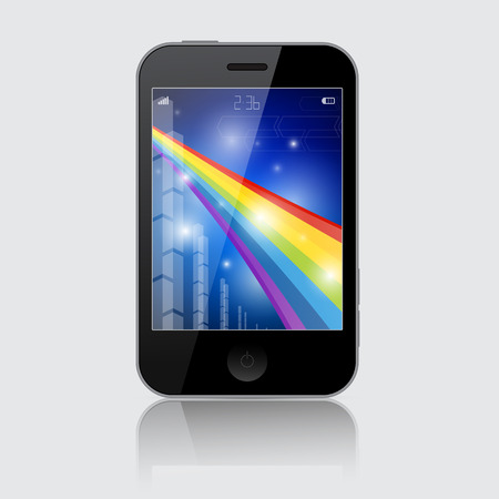 Smartphone Vector Illustration with Abstract Rainbow Theme on Grey Background Vector
