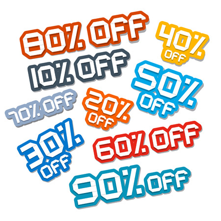 Colorful Vector Paper Cut Discount Stickers, Labels Set Vector
