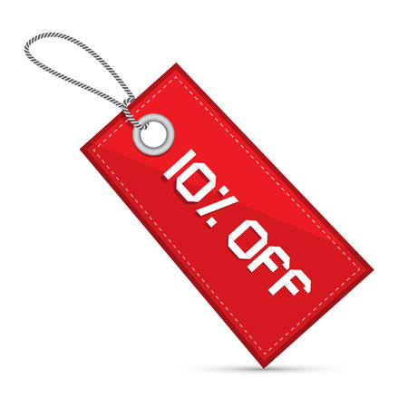 Ten Percent Off Red Discount Sale Paper Label, Tag With Strings Vector