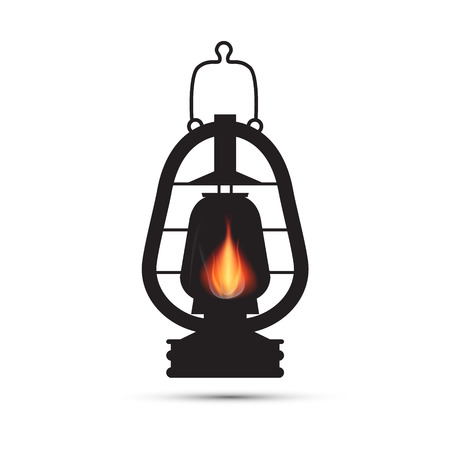 Vintage Lantern, Gas Lamp Illustration Isolated on White Background Vector