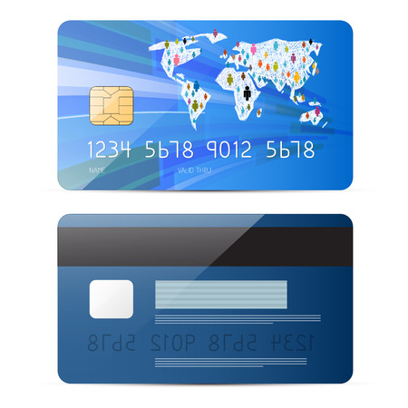 Blue Vector Credit Card Illustration Set Isolated on White Background Vector