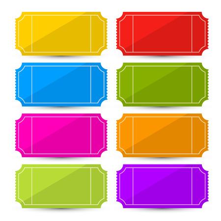 Colorful Vector Set Ticket Illustration Isolé sur fond blanc Vecteurs