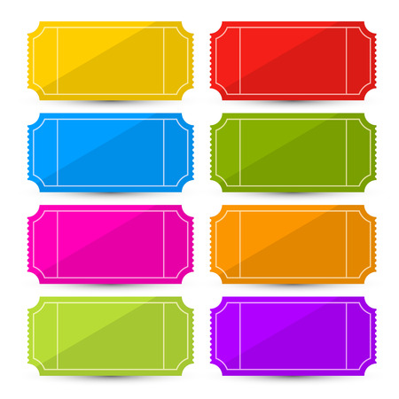 train ticket: Colorful Vector Ticket Set Illustration Isolated on White Background
