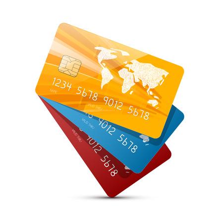 흰색 배경에 고립 된 다채로운 벡터 신용 카드 설정 그림