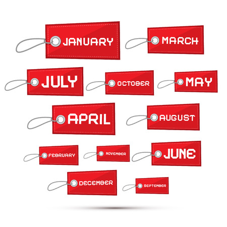 Months of the Year Red Sale Paper Labels, Tags Set Vector