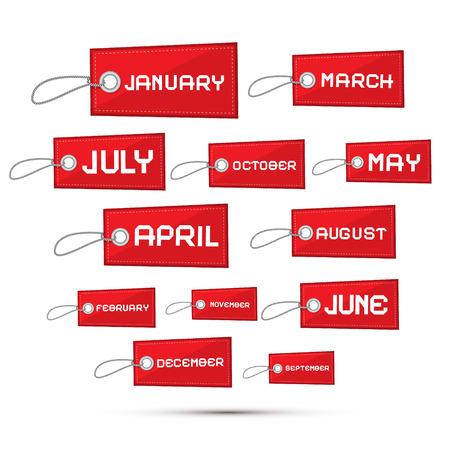 Meses del año Red Sale Etiquetas de papel, etiquetas Set