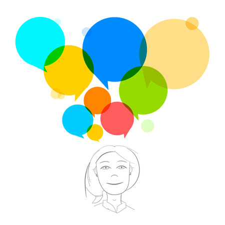 Vector Business Woman Illustration with Colorful Speech Bubbles Vector