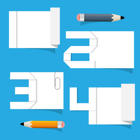 Vector Empty White Paper Sheet with Stickers and Pencils Vector