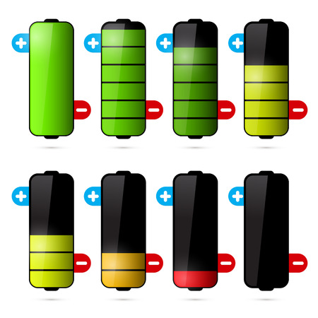discharges: Battery Life Icon Set Isolated on White Background