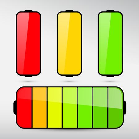 Battery Life Icon Set Isolated on Grey Background Illustration