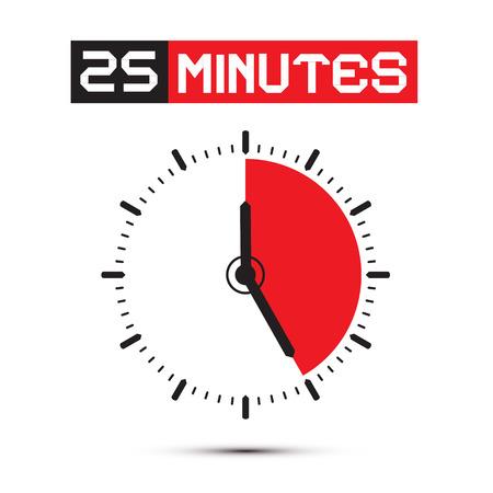 Twenty Five Minutes Stop Watch - Clock Illustration Vector