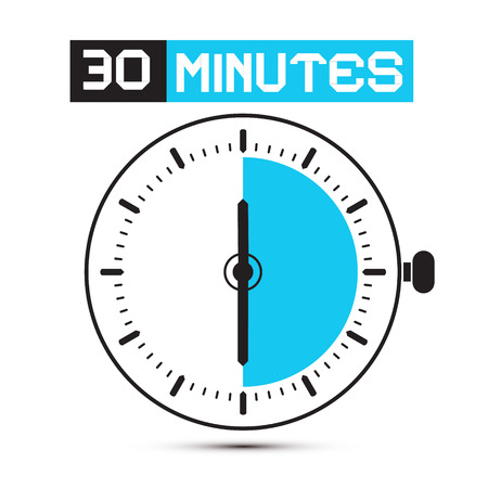 Thirty Minutes Stop Watch - Clock Illustration Vector