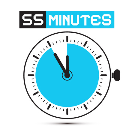 stop watch: Fifty Five Minutes Stop Watch - Clock Illustration