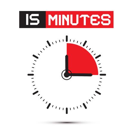 Fifteen Minutes Stop Watch - Clock Illustration Vector