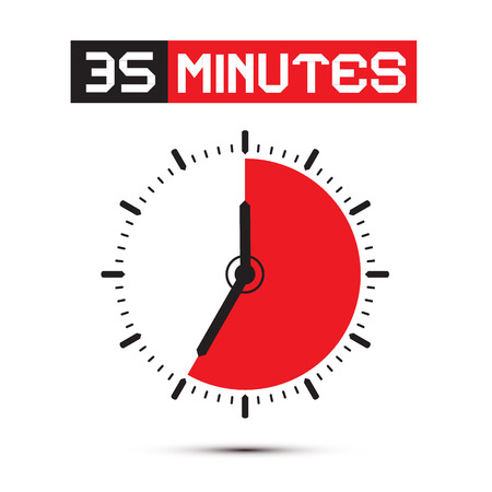 thirty five: Thirty Five Minutes Stop Watch - Clock Illustration