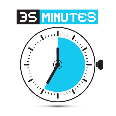 stop watch: Thirty Five Minutes Stop Watch - Clock Illustration