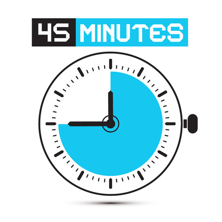 stop watch: Forty Five Minutes Stop Watch - Clock Illustration