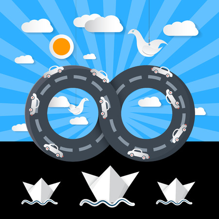Paper Origami Infinity Road with Cars, Ocean, Boats and Clouds Vector