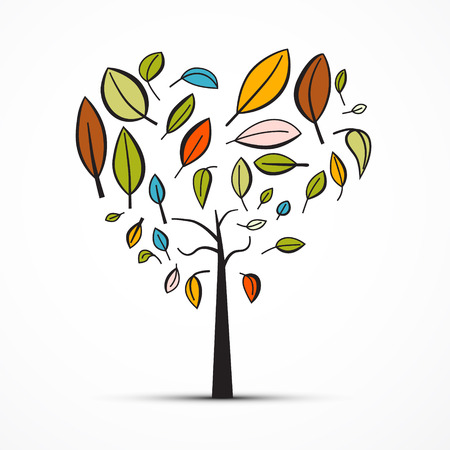 Abstract Heart Shaped Tree on White Background Illustration
