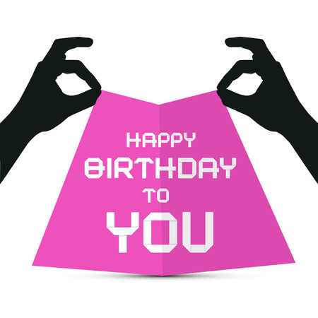 Hands Silhouette holding Pink Paper with Happy Birthday to You Title Vector