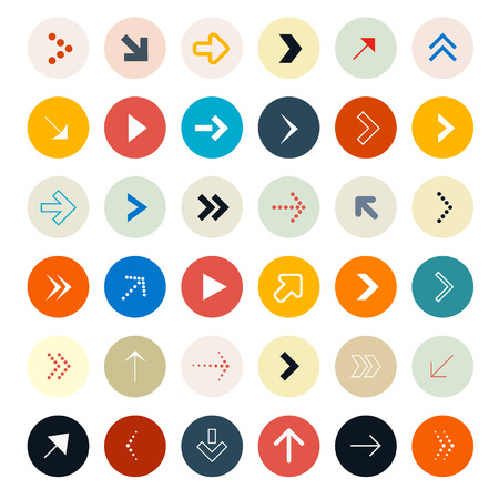 directional arrow: Arrows Set in Circles - Vector Illustration
