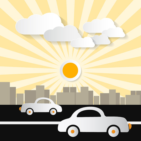 Paper Abstract Retro City Illustration with Buildings, Cars, Trees, Sun and Clouds  Vector