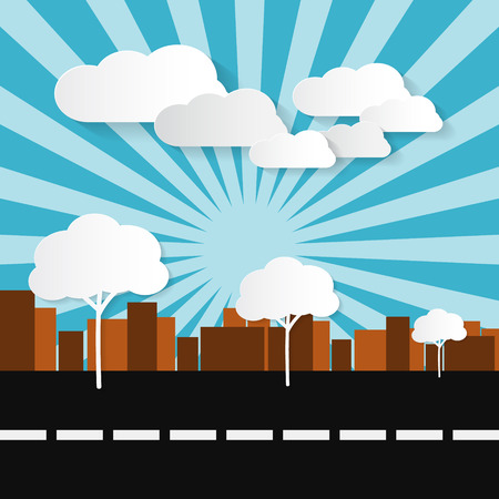 Paper Abstract Retro City Illustration with Buildings, Trees, Sun and Clouds  Vector