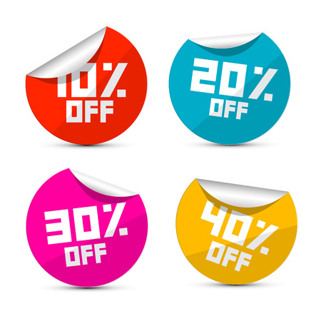 Vector 10% off, 20% off, 30% off, 40% off Stickers, Labels Vector