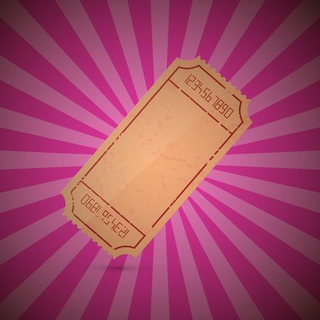 Empty Ticket Illustration on Retro Pink Background Illustration