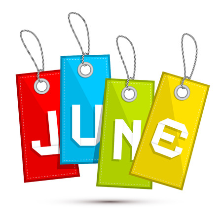 june: June Colorful Discount Sale Paper Label, Tag With Strings