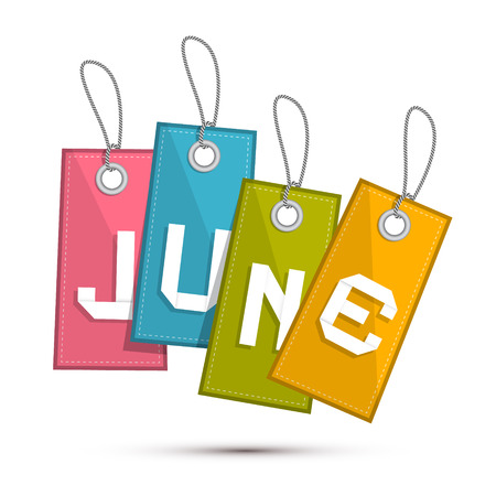 june: June Retro Discount Sale Paper Label, Tag With Strings