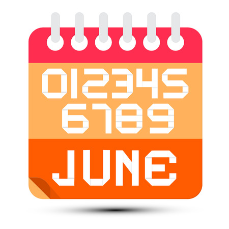 6 9 months: June Paper Calendar Isolated on White Background