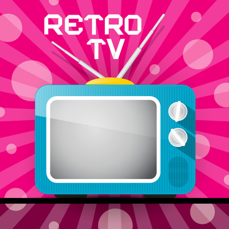Retro Blue Television, TV Illustration on Abstract Pink Background  Vector