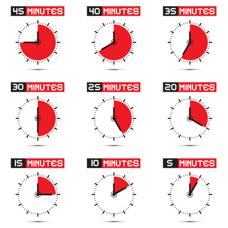 Five to Forty Five Minutes Stop Watch - Clock Illustration Set