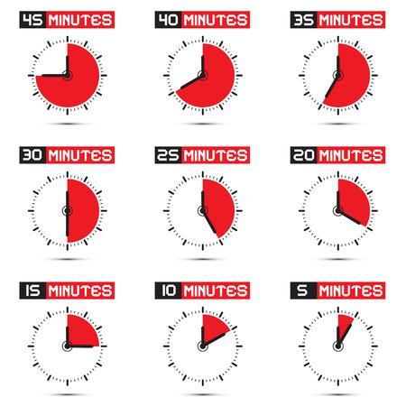 5 分から 40 分停止時計 - 時計イラスト セット  イラスト・ベクター素材