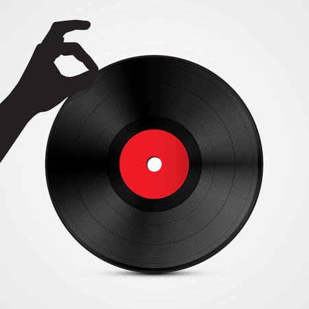 Vinyl Record Disc with Hand Isolated on Light Background  Illustration