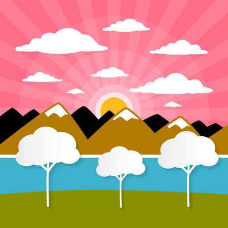 Paper Nature Background with Trees, River - Lake, Clouds and Sun  Vector