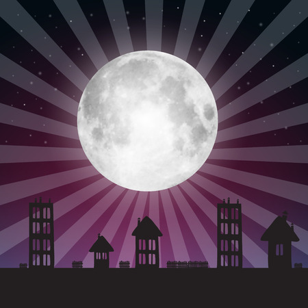 Full Moon Illustration with Stars above City Vector