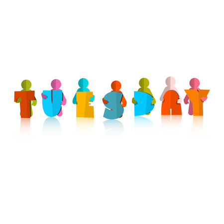 Tuesday Colorful Title - Paper Cut People and Letters on White Background