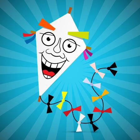 paper kite: Paper Kite Illustration on Blue Retro Background Illustration