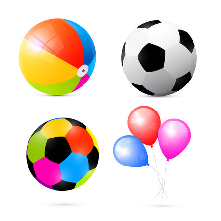 Colorful Beach, Air and Beach Balls Set Vector