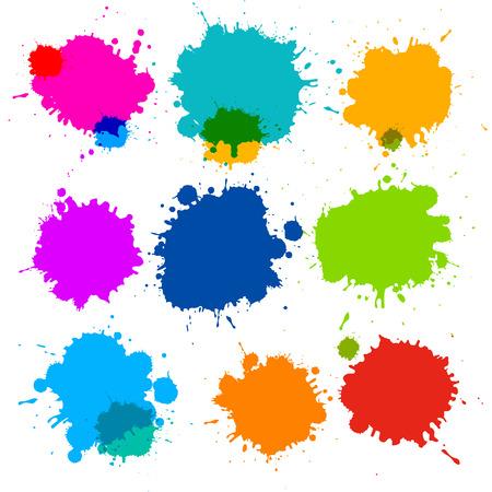Colorful Transparent Vector Stains, Blots, Splashes Set