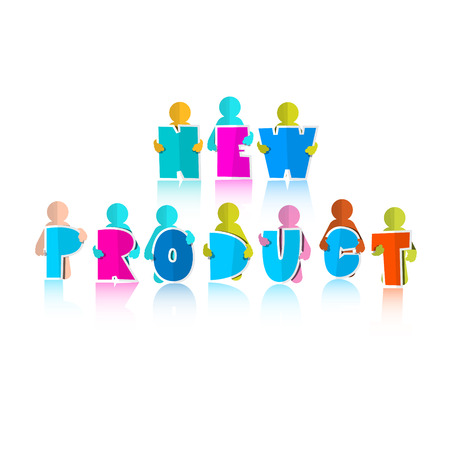 New Product Title with Paper Cut People Vector