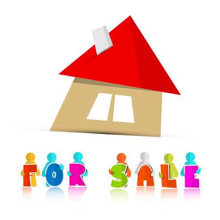 House For Sale Paper Icon Isolated on White Background Vector