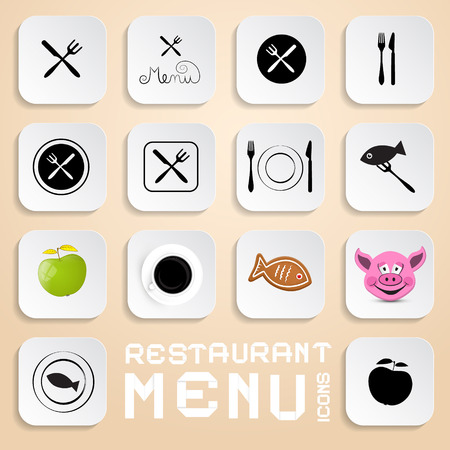 Vector Restaurant Menu Icons - Vector Design Elements Vector