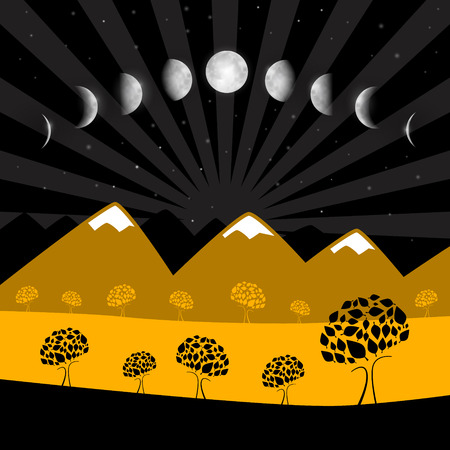 moon phases: Vector Moon Phases - Night Landscape with Trees