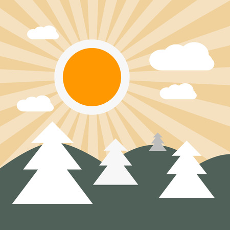 Flat Design Nature Landscape Illustration with Sun, Hills and Trees Vector
